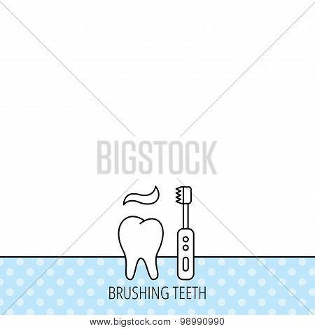 Brushing teeth icon. Electric toothbrush sign.