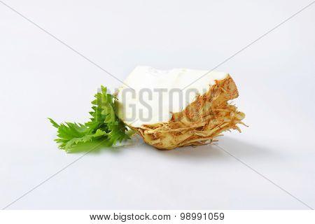 quarter of fresh celery root