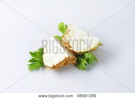 fresh celery root cut into quarters