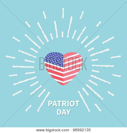 Shining Heart Flag Star And Strip Patriot Day Flat Design