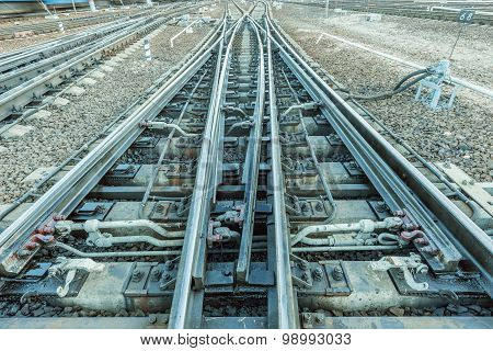 Railway Tracks On The Big Station.