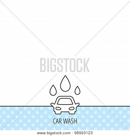Car wash icon. Cleaning station with water drops