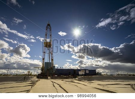 Oil rig in a Sunny day.