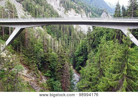 Mountain landscape with bridge. Switzerland