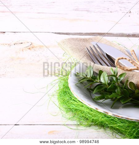 seasonal white table with cutlery