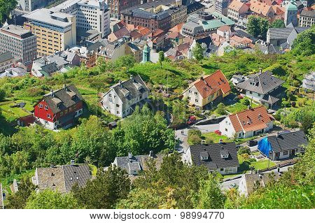 View to the buildings of Bergen from Floyen hill in Bergen, Norway.