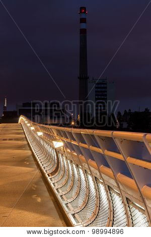 Night view of the Troja Bridge from the river Vltava, Trojsky most, Prague, Czech republic