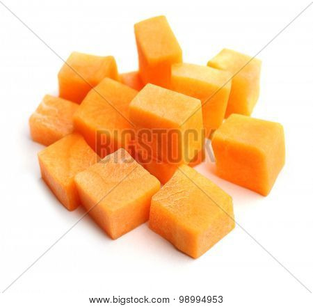 Diced carrot isolated on white