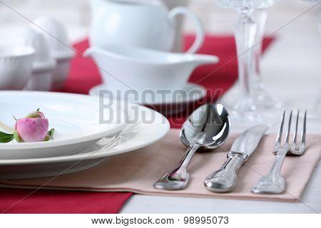 Beautiful table setting close up