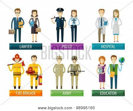 people vector logo design template. police, firefighting service, hospital and soldier, lawyer, educ