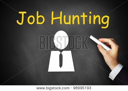 Hand Writing Job Hunting On Black Chalkboard