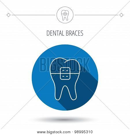 Dental braces icon. Tooth healthcare sign.