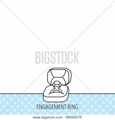 Engagement ring icon. Jewellery box sign.
