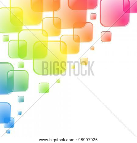 Colorful squares background with white copy space at the corner.