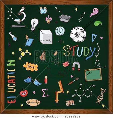 Freehand drawing school items on the blackboard. Back to School.