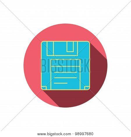Floppy disk icon. Retro data storage sign.