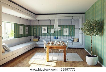 super sofa concept. living room interior. 3d design idea
