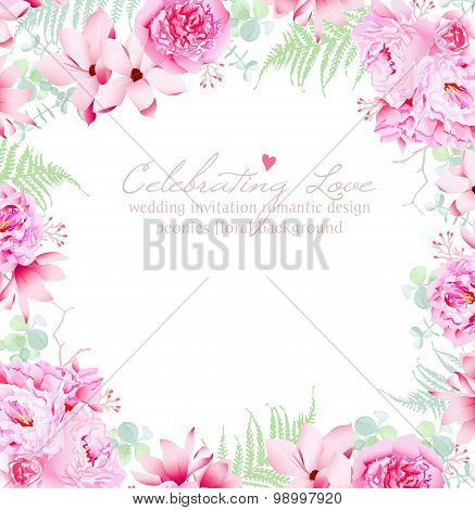 Luxury Peonies And Camellia Vector Frame