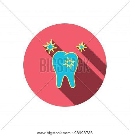 Healthy tooth icon. Dental protection sign.
