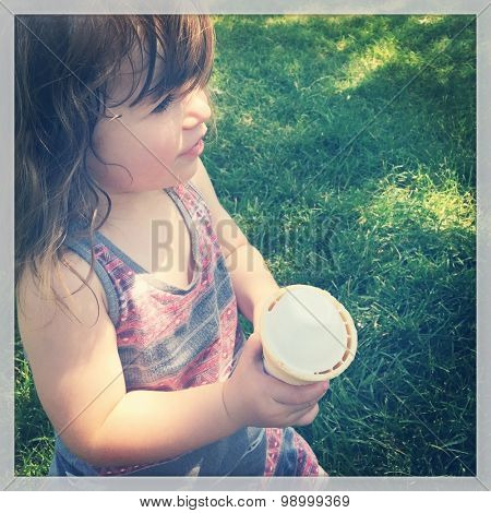Little Baby girl eating ice cream - instagram effect