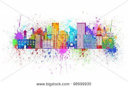 Portland Oregon Skyline Splatter Color Illustration