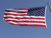 image of usa flag  - waving us flag blowing in the wind  - JPG