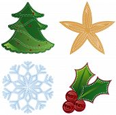 pic of stippling  - colorful holiday shapes decorated with dotted patterns in white  - JPG