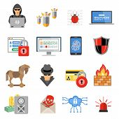 Internet Security Flat Icon Set poster