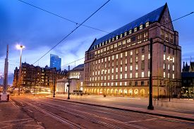 picture of tram  - New extension of Manchester town hall - JPG