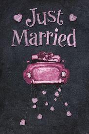 foto of married  - Just married  poster on blackboard in chalk - JPG