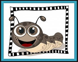 picture of caterpillar cartoon  - Smiling caterpillar card in scrapbook style - JPG