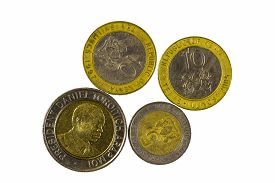 image of shilling  - Four Metal Shillings Coins From Republic Of Kenya