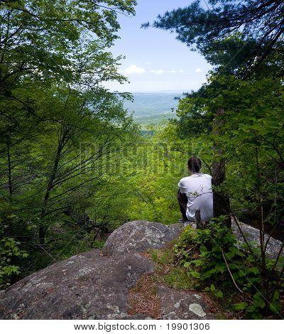 Hiker Overlooks Shenandoah Valley