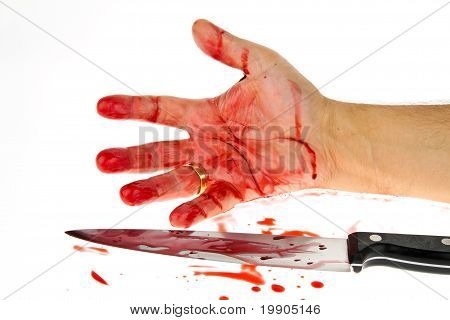 Knife with blood. Crime.