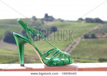 Green high heels sandal