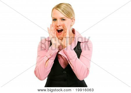 Cheerful modern business woman shouting through megaphone shaped hands isolated on white