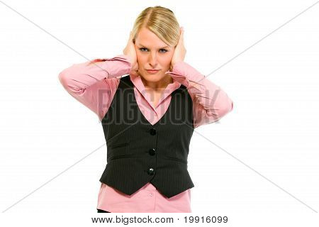 Modern business woman making hear no evil gesture isolated on white