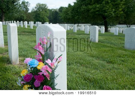 Flowers At Gravesite