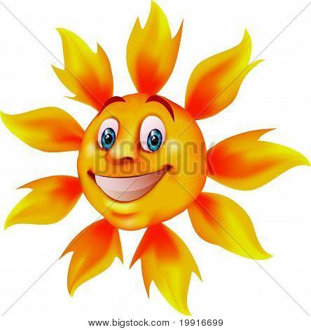 Sol sonriente de dibujos animados