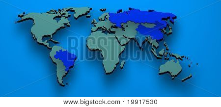 3D Map Formed By The Bric Countries Brazil, Russia, India And China