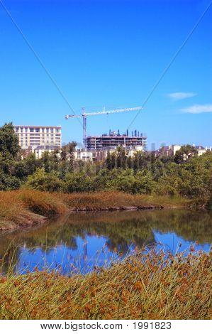 Highrise Construction Near Wetlands