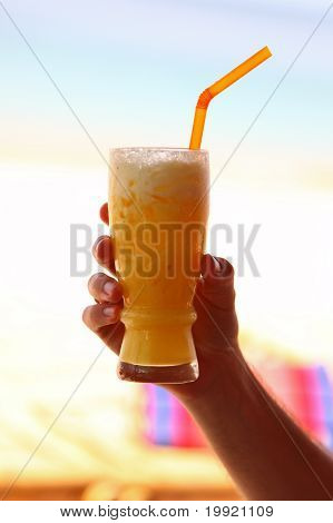 Glass Of Tasty Yellow Refreshment Drink