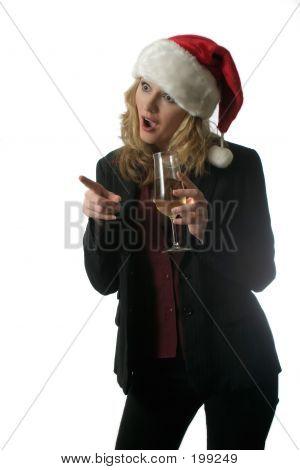 Shocked Woman In Santa Hat