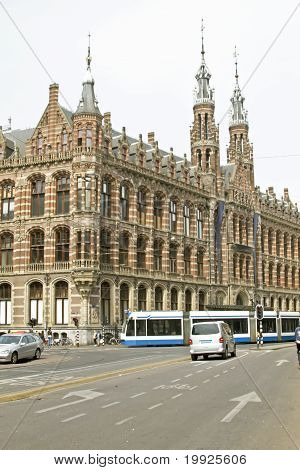 Medieval building Magna Plaza in Amsterdam the Netherlands