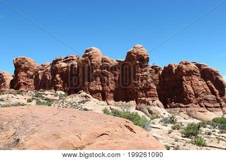 Garden of Eden rock formation in Arches National Park Utah
