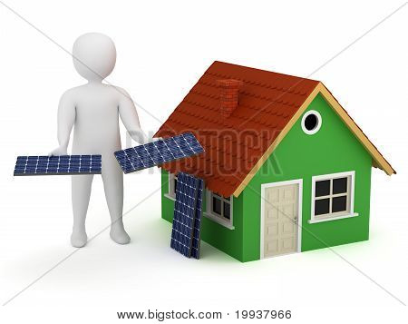 3D Man With Solar Panels