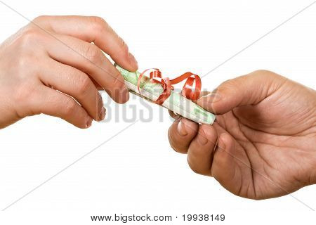 Hands With Banknote