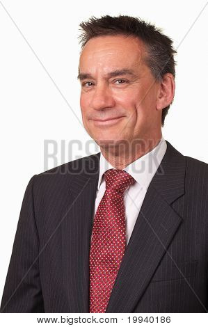 Attractive Middle Age Business Man in Suit with Cheeky Smile