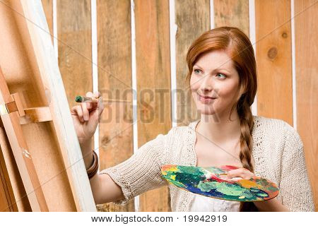 Red-hair Romantic Woman In Barn Painting Country