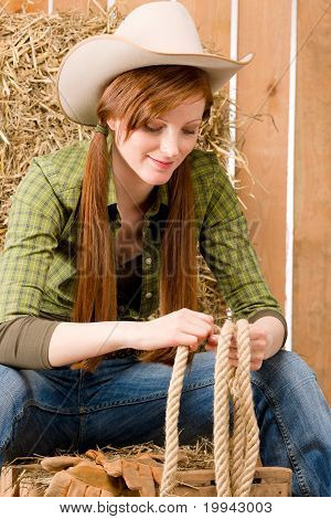 Young Cowgirl Western Country Style With Rope